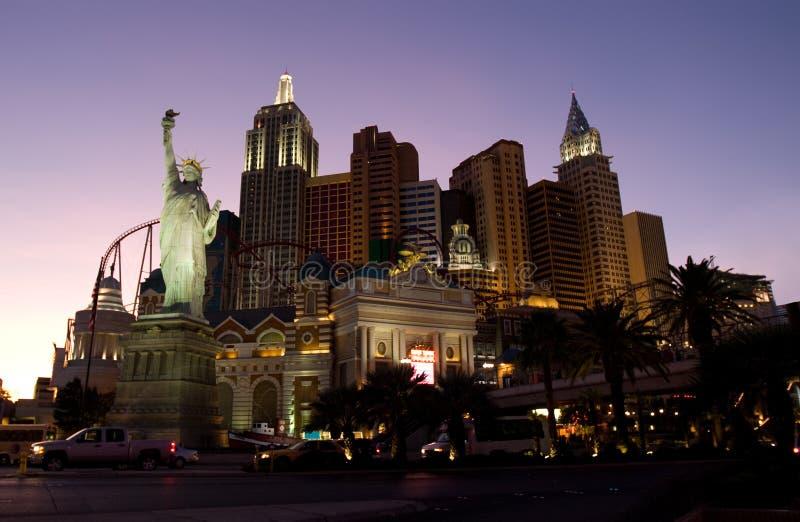 Las Vegas. Main street Strip at night hotel New York stock images