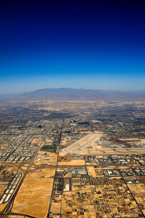 Aerial view over Las Vegas stock photos