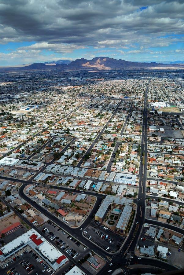 Las Vegas aerial view with mountain royalty free stock photos