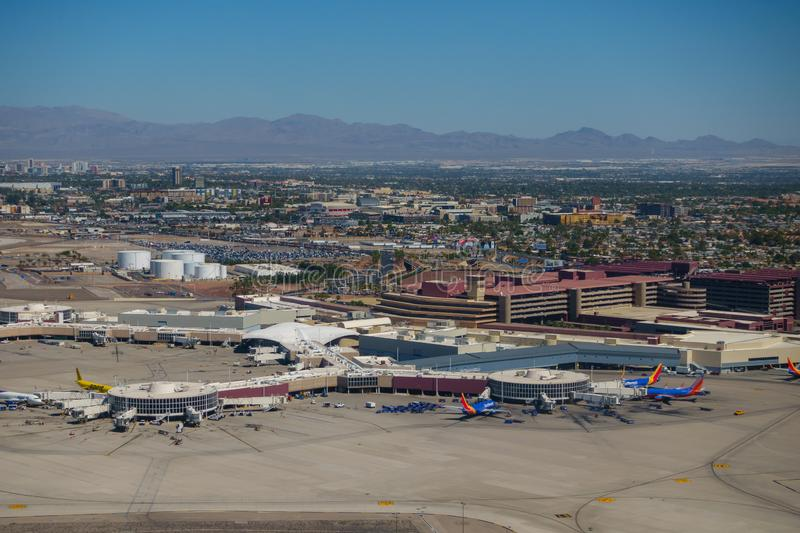 Las Vegas airport aerial view at sunny day time stock photography