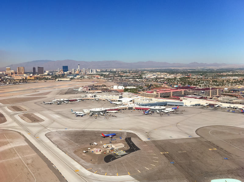 Las Vegas airport view from the air. stock images