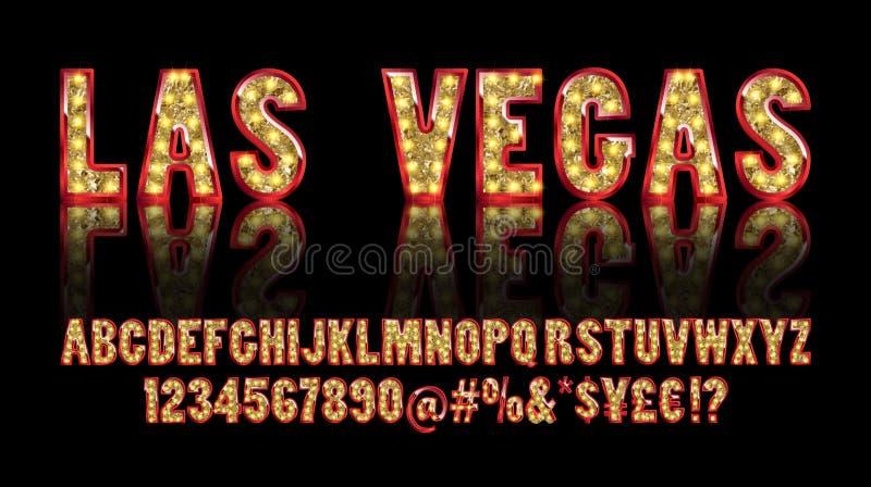 Las Vegas Alfabeto dourado da cor com lâmpadas da mostra ilustração do vetor