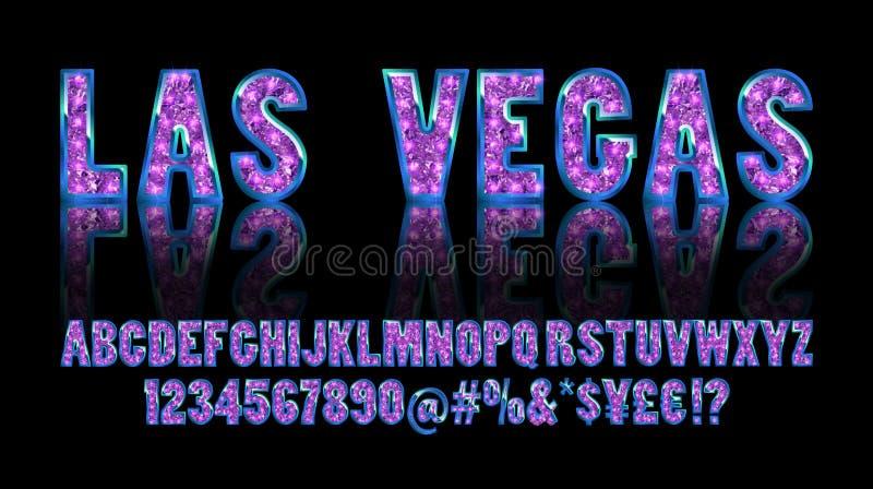 Las Vegas Alfabeto dourado da cor com lâmpadas da mostra ilustração royalty free