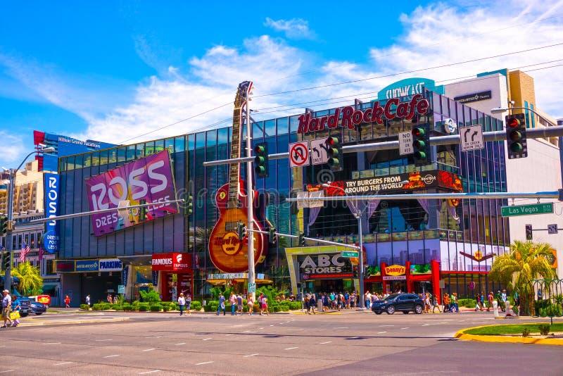 Las Vegas Amerikas förenta stater - Maj 05, 2016: Hardet Rock Cafe på remsan arkivfoto