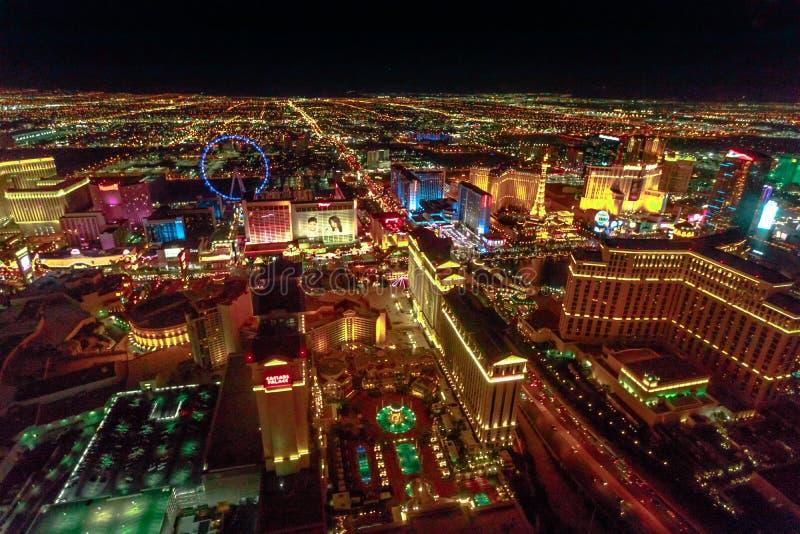 Las Vegas-Antennennacht stockfoto