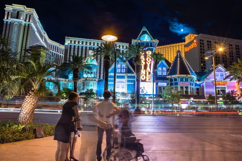Las Vegas Boulevard view of Casino Royale at night royalty free stock photos