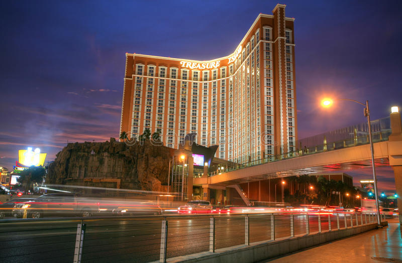 LAS VEGAS - CIRCA 2014: Treasure Island hotel and casino on CIRCA 2014 in Las Vegas. Treasure Island was opened by Mirage Resorts stock image