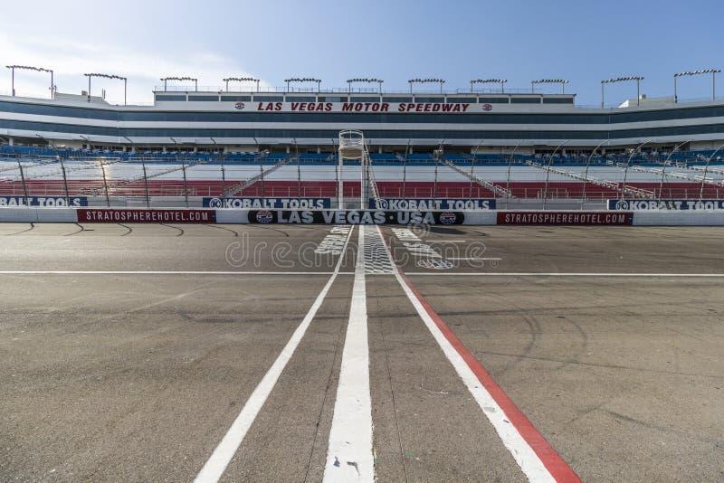 Las Vegas - Circa July 2017: Start Finish line at Las Vegas Motor Speedway. LVMS hosts NASCAR and NHRA events VI stock photo