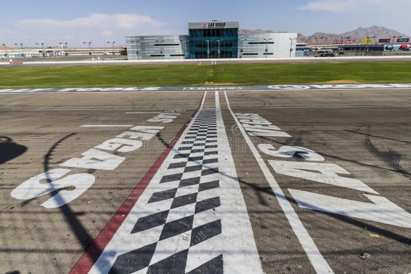 Las Vegas - Circa July 2017: Start Finish line at Las Vegas Motor Speedway. LVMS hosts NASCAR and NHRA events VII royalty free stock image