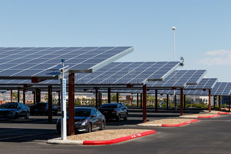 Solar Thermal Flat Panels in a parking lot. Companies are installing renewable energy sources to reduce their carbon footprint I. Las Vegas - Circa June 2019 stock images
