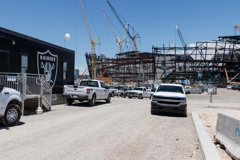 Las Vegas Stadium under construction and will host the NFL Raiders and the UNLV Rebels football teams II. Las Vegas - Circa June 2019: Las Vegas Stadium under stock photography