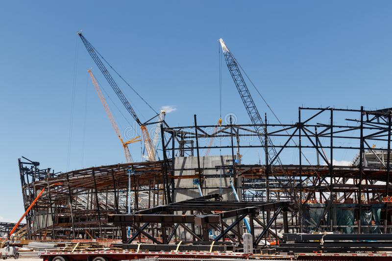 Las Vegas Stadium under construction and will host the NFL Raiders and the UNLV Rebels football teams III. Las Vegas - Circa June 2019: Las Vegas Stadium under stock photo