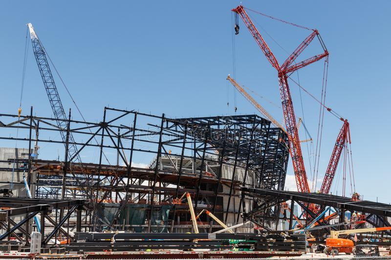 Las Vegas Stadium under construction and will host the NFL Raiders and the UNLV Rebels football teams IV. Las Vegas - Circa June 2019: Las Vegas Stadium under royalty free stock photography