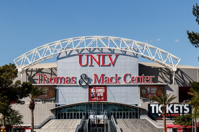 Thomas and Mack Center at the University of Nevada at Las Vegas. UNLV offers more than 350 degrees in varying fields IV. Las Vegas - Circa June 2019: Thomas and royalty free stock photos
