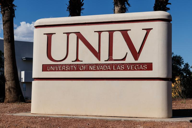 University of Nevada at Las Vegas. UNLV offers more than 350 degrees in varying fields I. Las Vegas - Circa June 2019: University of Nevada at Las Vegas. UNLV stock photography
