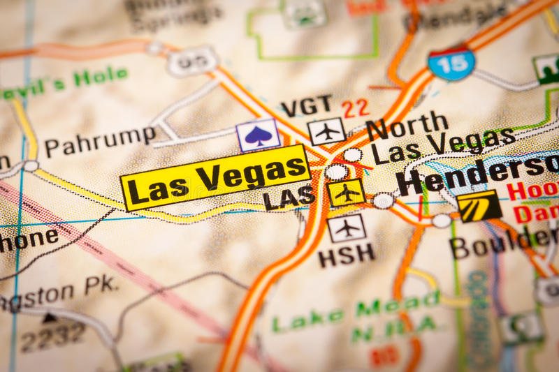 Las Vegas City on a Road Map stock images