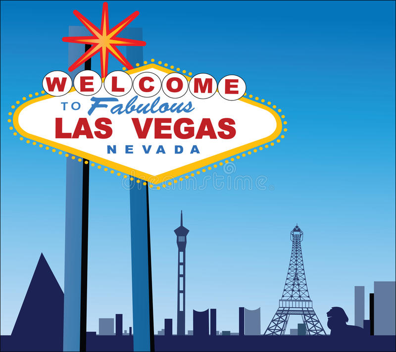 Las Vegas City and wolcome sign stock illustration