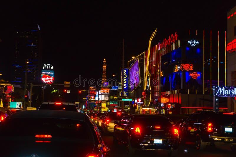 Las Vegas, de Verenigde Staten van Amerika - Mei 07, 2016: Nachtscène langs de Strook in Las Vegas in Nevada stock afbeelding