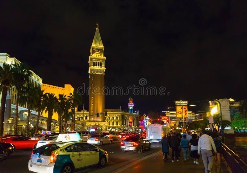 Las Vegas, de Verenigde Staten van Amerika - Mei 07, 2016: Nachtscène langs de Strook in Las Vegas in Nevada stock foto's