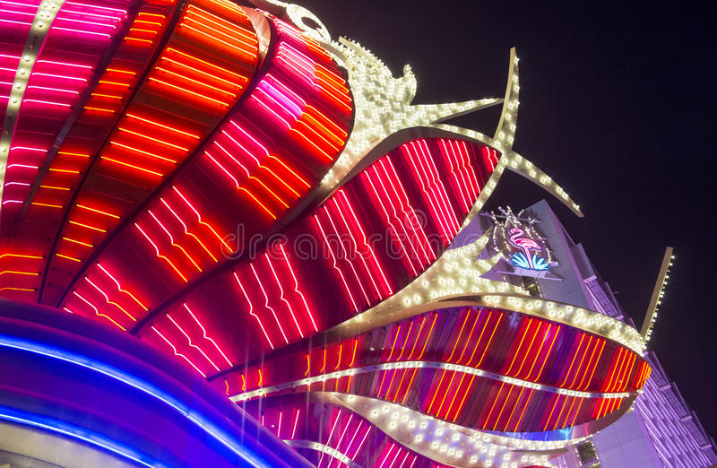 Las Vegas , Flamingo. LAS VEGAS - JUNE 15 : The Flamingo hotel and casino on June 15, 2014 in Las Vegas. The hotel opened by Bugsy Segal on 1946 and it's the royalty free stock images