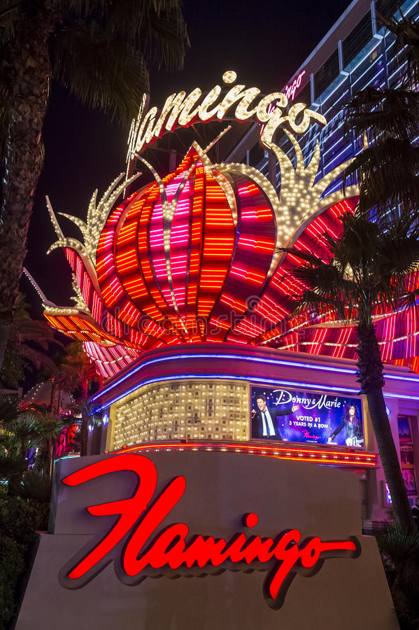 Las Vegas , Flamingo. LAS VEGAS - NOV 24 : The Flamingo hotel and casino on November 24 , 2016 in Las Vegas. The hotel opened by Bugsy Segal on 1946 and it`s the stock photo