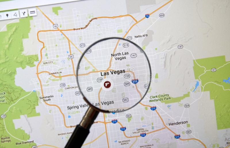 Las Vegas on Google Map royalty free stock photo