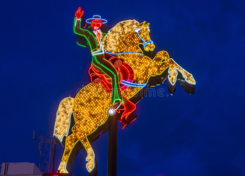 Las Vegas hacjendy koń i jeździec podpisuje fotografia royalty free