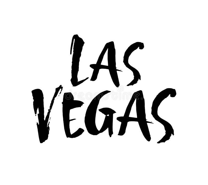 Las Vegas hand-van letters voorziet inktkalligrafie Hand getrokken borstelkalligrafie Stad het van letters voorzien ontwerp Vecto royalty-vrije illustratie