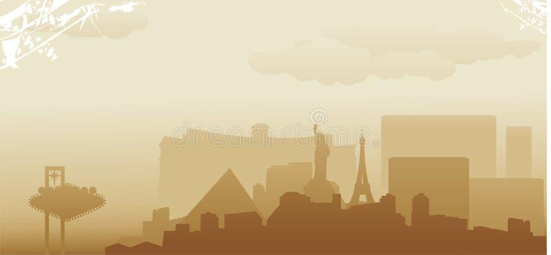 Las Vegas horisont royaltyfri illustrationer