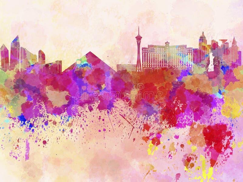 Las Vegas horisont i vattenfärgbakgrund vektor illustrationer
