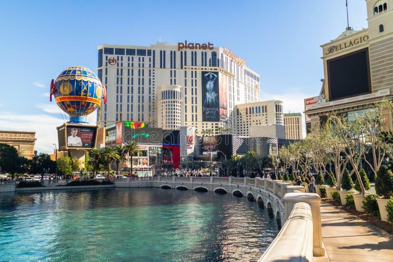 Las Vegas, hotel de Planet Hollywood, y hotel y casino de Bellagio foto de archivo