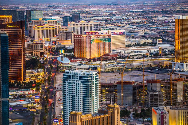 Las Vegas hotell från över royaltyfria bilder