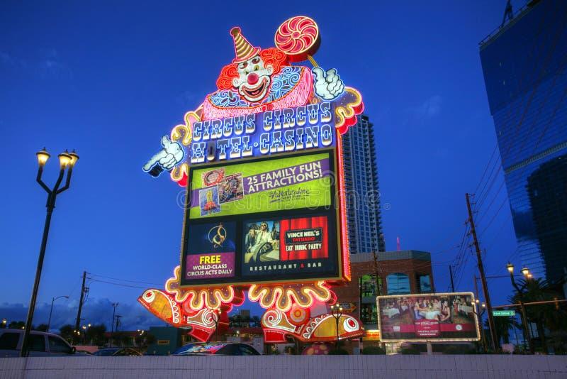 LAS VEGAS - JANUARI 31: Cirkus för hotellkasinocirkus på Januari 31, 20 arkivbild