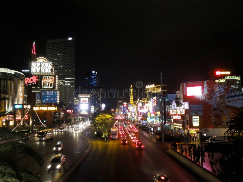 Las Vegas July 29, 2011: Las Vegas Strip full of cars at Night featuring New York, New York, Planet Hollywood, Paris, Paris, and royalty free stock image