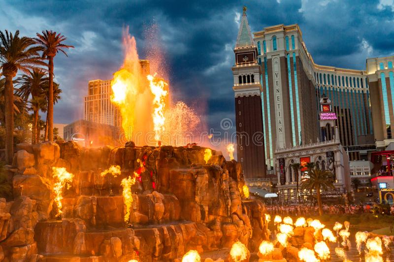 LAS VEGAS -July 13 : The Mirage Hotel artificial Volcano Eruption show in Las Vegas on July 13 2017 ,The hotel Opened in 1989 and royalty free stock images