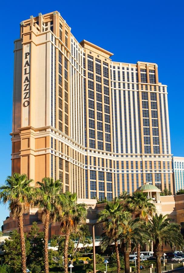 Las Vegas - Juni 17, 2013: Det Palazzo hotellet och kasinot royaltyfri foto