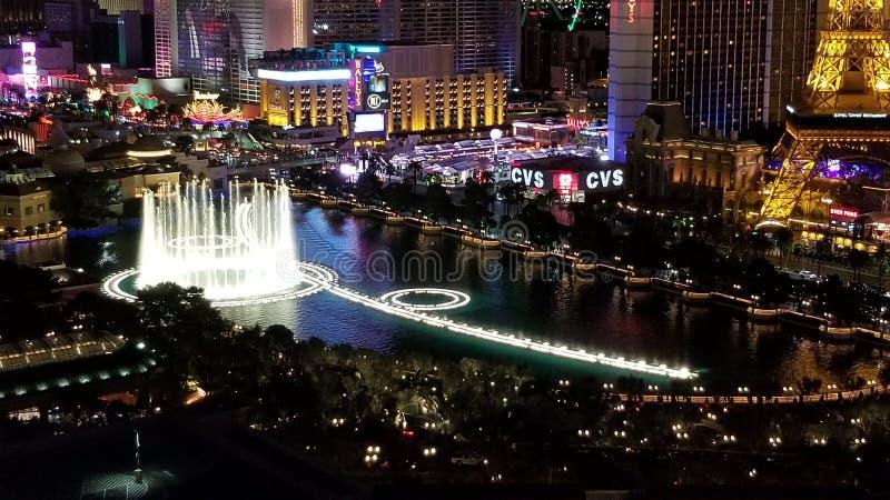 Las Vegas Lights and Bellagio Fountain fotografia royalty free