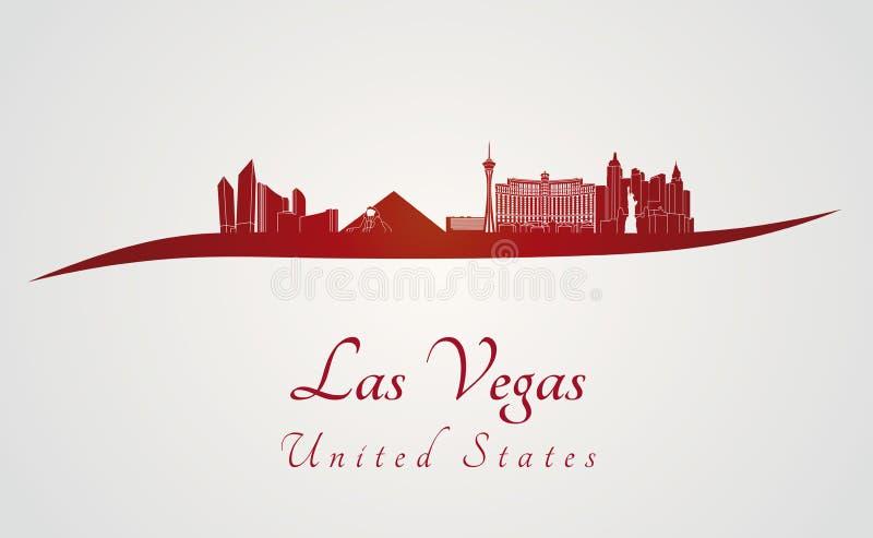 Las Vegas linia horyzontu w czerwieni ilustracja wektor