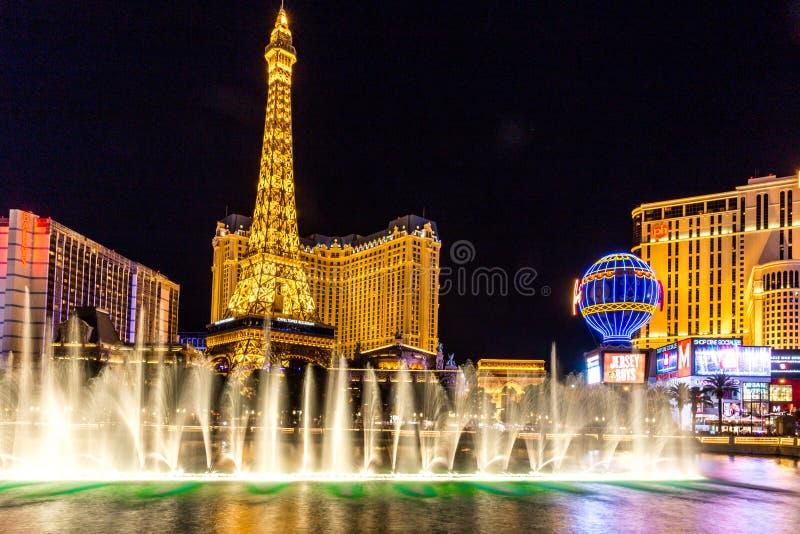 LAS VEGAS, LOS E.E.U.U. - 28 DE MAYO DE 2015: Vista de la tira en Las Vegas en Clark County, Nevada los E.E.U.U. fotos de archivo libres de regalías