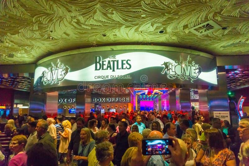 Las Vegas, los Estados Unidos de América - 6 de mayo de 2016: Entrada a la demostración del amor del teatro de Beatles Cirque du  foto de archivo
