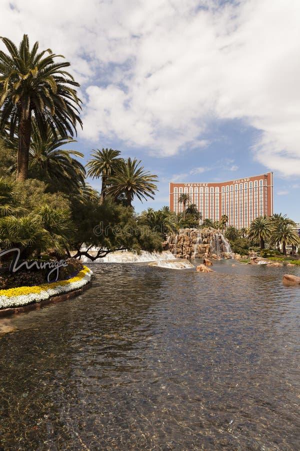 Schatz-Insel, wie vom Trugbild, Las Vegas, Nanovolt gesehen an März lizenzfreie stockfotografie