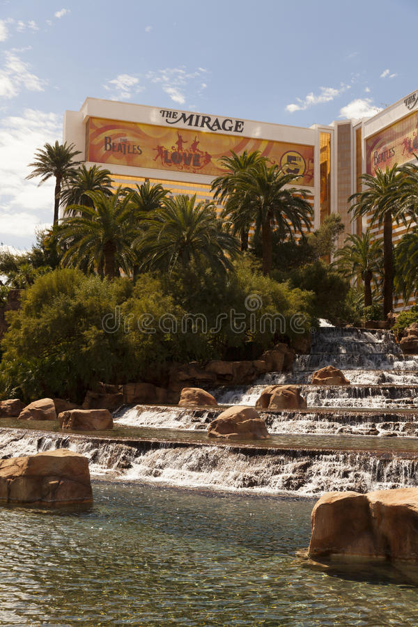 The Mirage Hotel And Waterfall In Las Vegas, NV On March 30, 201 Editorial Stock Photo