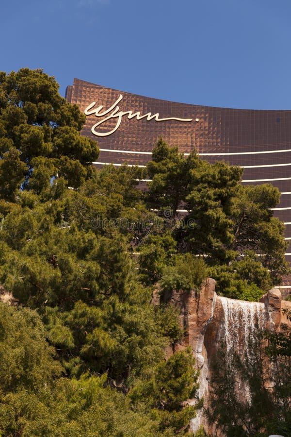 Hotel di Wynn e caratteristica a Las Vegas, NV dell'acqua il 30 marzo 2013 fotografie stock