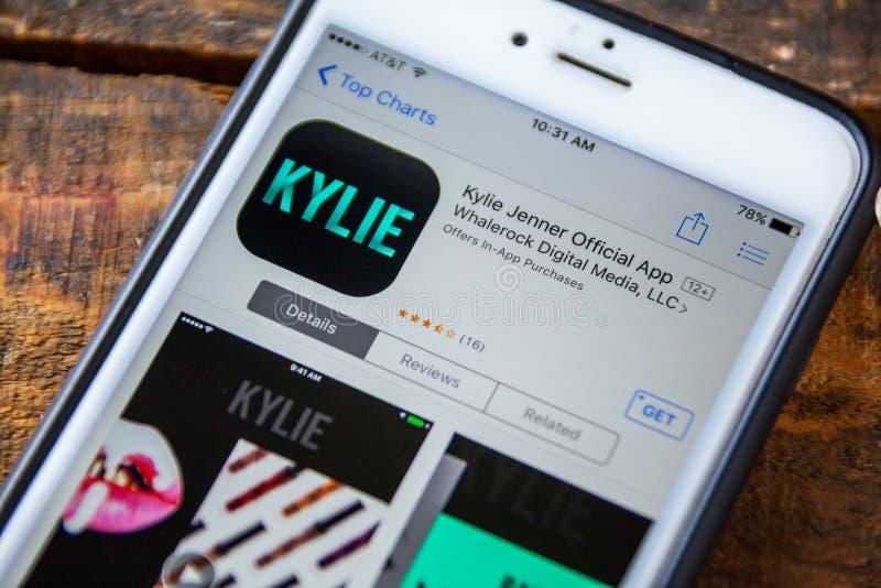LAS VEGAS, nanovolt - 22 de setembro 2016 - IPhone App de Kylie Jenner dentro fotos de stock