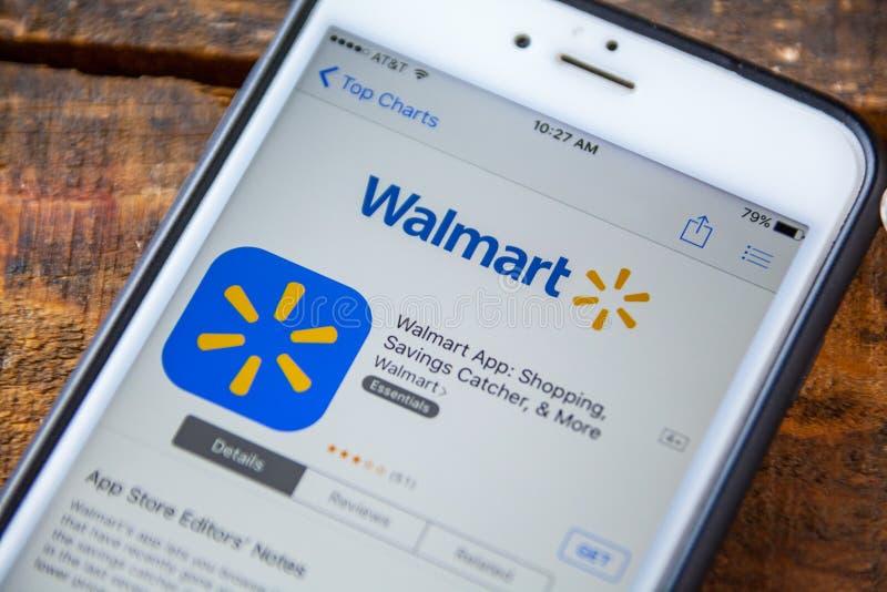 LAS VEGAS, nanovolt - 22 de setembro 2016 - IPhone App de Wal Mart no fotografia de stock