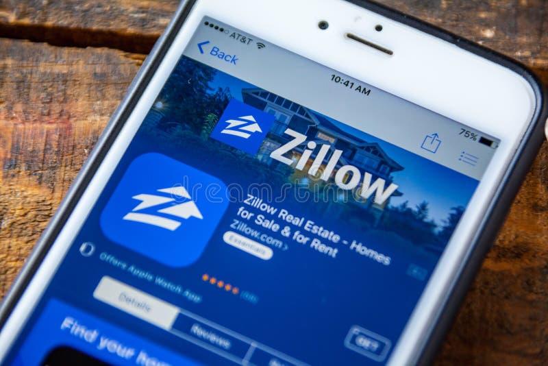 LAS VEGAS, nanovolt - 22 de setembro 2016 - IPhone App de Zillow no Ap fotografia de stock