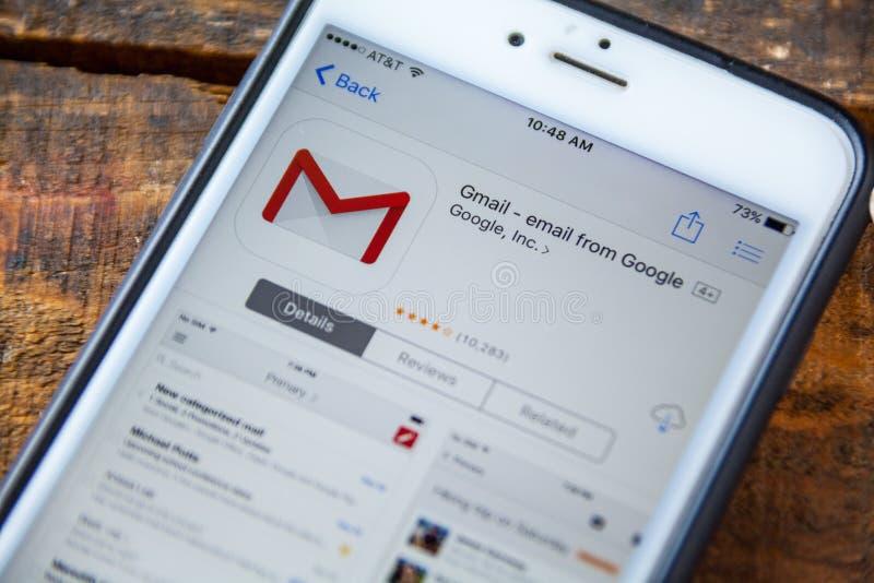 LAS VEGAS, nanovolt - 22 septembre 2016 - IPhone APP de Gmail dans l'APP photo libre de droits