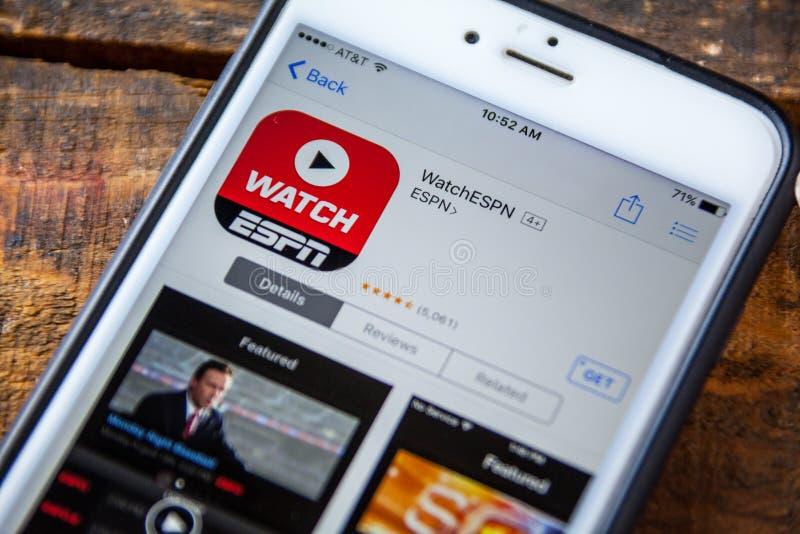 LAS VEGAS, nanovolt - 22 septembre 2016 - IPhone APP I d'ESPN WatchESPN image libre de droits