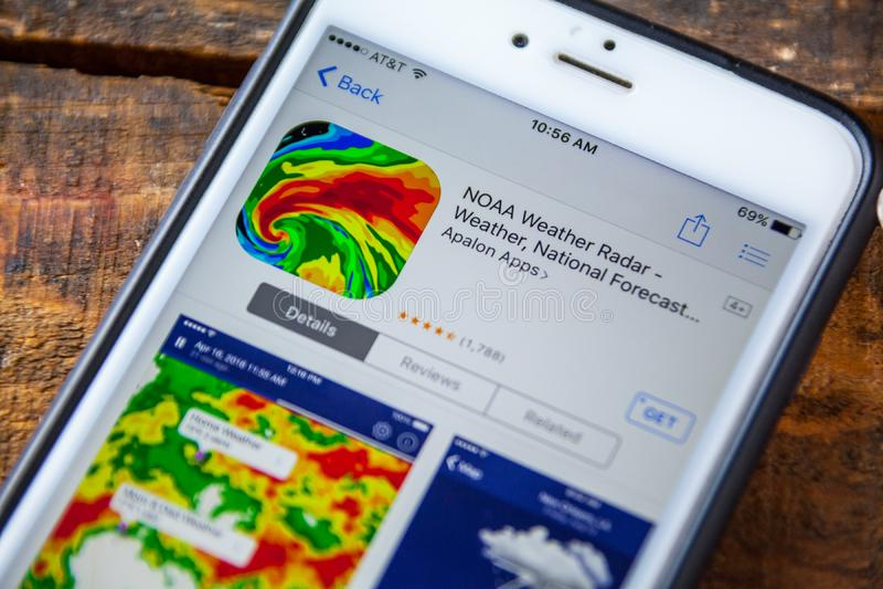 LAS VEGAS, nanovolt - 22 septembre 2016 - IPhone A de radar de temps de NOAA image stock