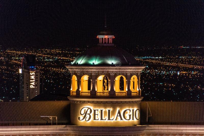 Las Vegas, Nanovolt, USA 09032018: NACHTansicht der Bellagio-HAUBE stockbilder